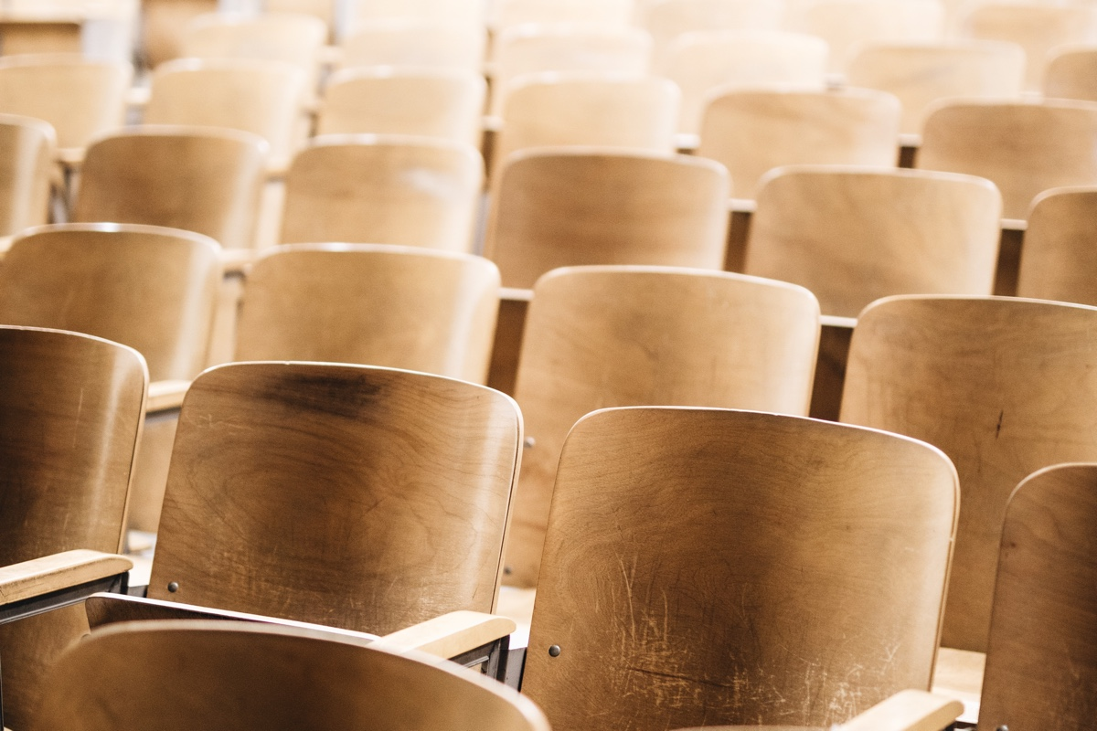 empty chairs in university classroom